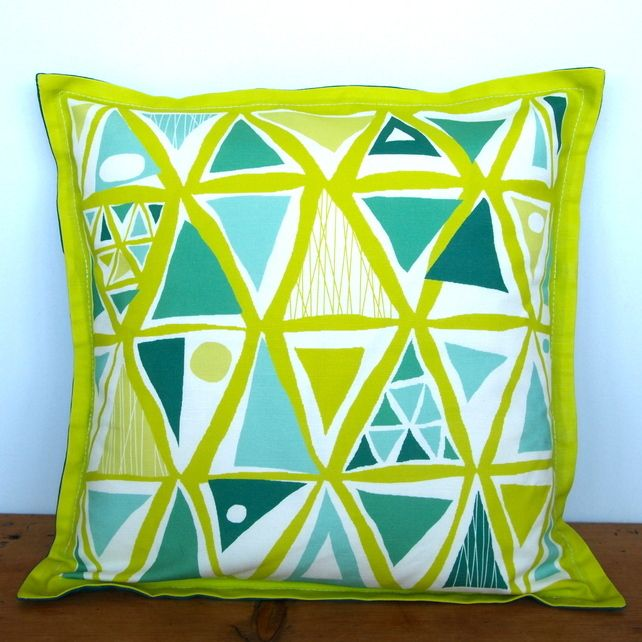 Festival Triangles Cushion - Nursery Quirky Fun Vintage Retro Baby £20.00