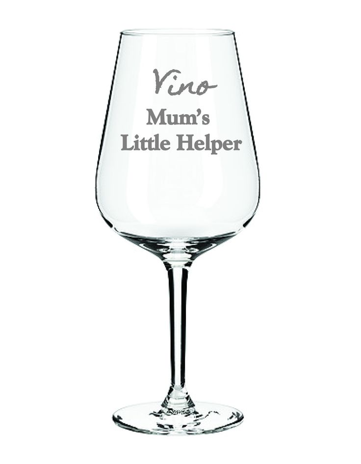 Vino Mums Little Helper wine glass is a quirky fun glass that any mother can relate to! why not sign it off with a name foe a personal touch? Comes in a satin lined gift box. Height: 22 cm Volume: 35 cl