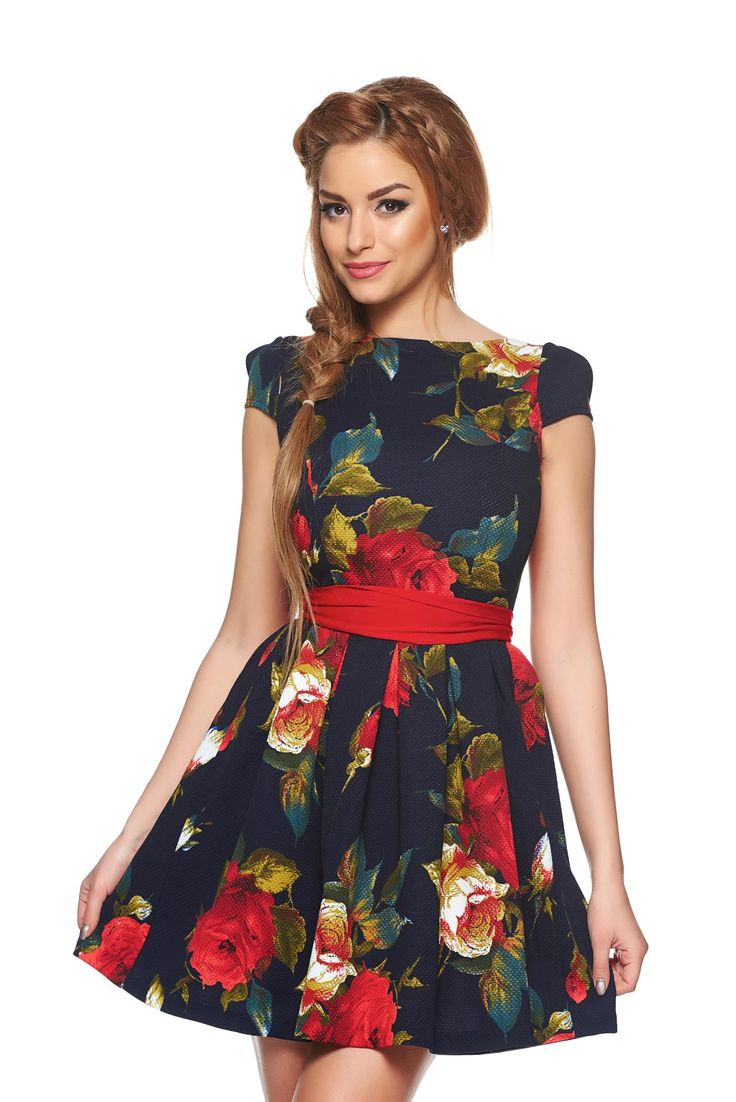 Fofy Women Bouquet DarkBlue Dress, accessorized with tied waistband, floral prints, back zipper fastening, flexible thin fabric/cloth,…