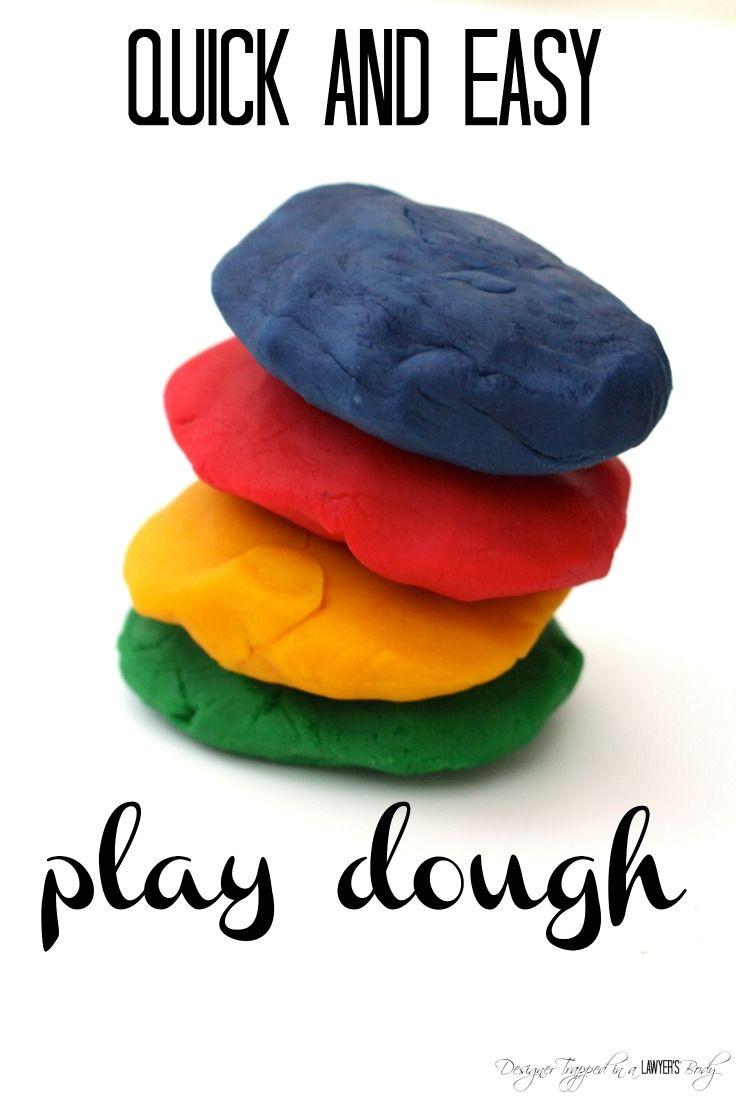 Easiest homemade play dough recipe! Even busy moms can make this! #playdoughrecipe #homemadeplaydough
