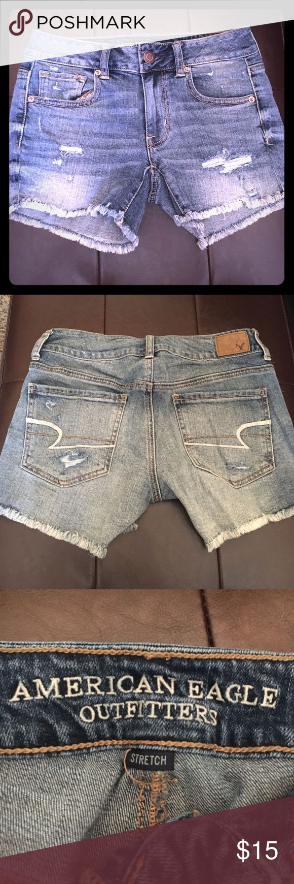 New American Eagle Midi Shorts Size 2 NWOT, ordered wrong size online. Super cute distressed AE midi shorts. Perfect new,condition. No flaws. Size 2 with stretch. American Eagle Outfitters Shorts Jean Shorts