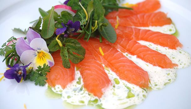 Cured Salmon with Garden Weeds, cream and dill oil - a stunning spring dish!