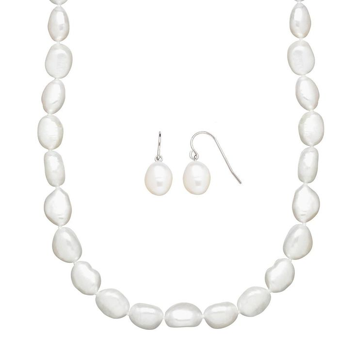 Freshwater by Honora Freshwater Cultured Pearl Necklace and Drop Earring Set, Women's, White