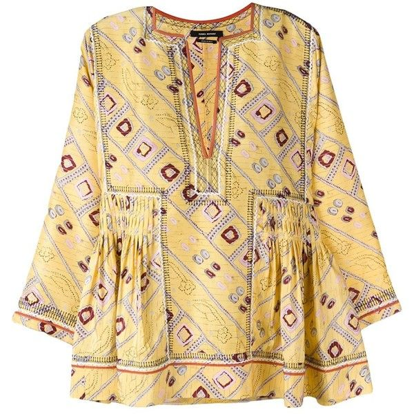 Isabel Marant 'Topaz' blouse ($805) ❤ liked on Polyvore featuring tops, blouses, smock tops, beige top, isabel marant top, colorful tops and pintuck blouse