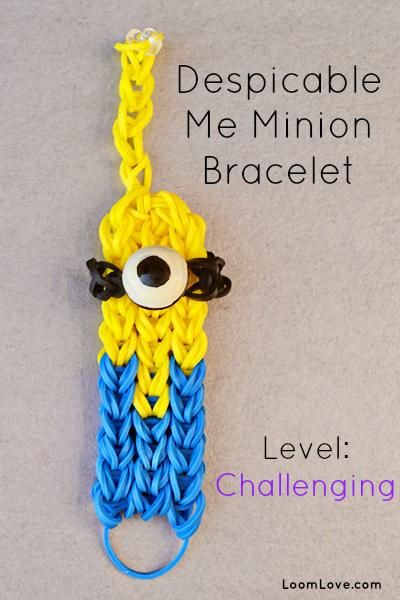 Minion Rainbow Loom: Rainbowloom, Rainbow Loom, Minions Rainbows Loom, Rubber Bands, Kids Crafts, Loom Bands, Rainbows Loom Bracelets, Despicable Me, Minions Bracelets