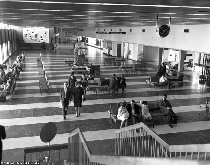 It couldn't be a more relaxed scene inside the terminal of Perth Airport in 1966 as passen...