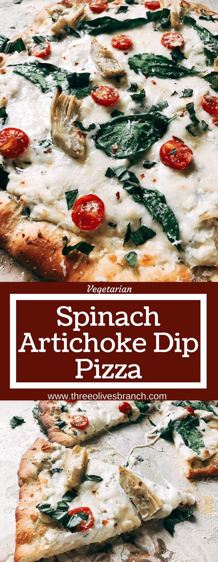 Perfect for dinner parties and fun meals, this pizza is based on the classic spinach artichoke dip! Spinach, artichoke hearts, Parmesan, cream cheese, garlic, and more form a dip as the sauce of this pizza with additional veggies like tomatoes or your favorite meats as the toppings. Try it out with our Parmesan Black Pepper or Rosemary Garlic Pizza Doughs. Make the dough in advance for a faster meal! Freezes well, kid friendly, vegetarian, and delicious! Spinach Artichoke Dip Pizza | Three…