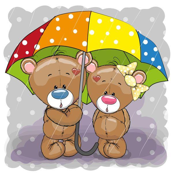 Romantic cartoon bears vector design 04