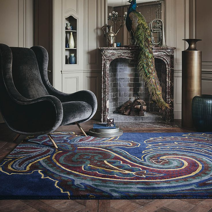 This navy Paisgeo rug features an oversized paisley pattern.