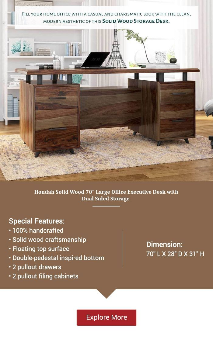 Hondah Solid Wood 70 Large Office Executive Desk With Dual Sided