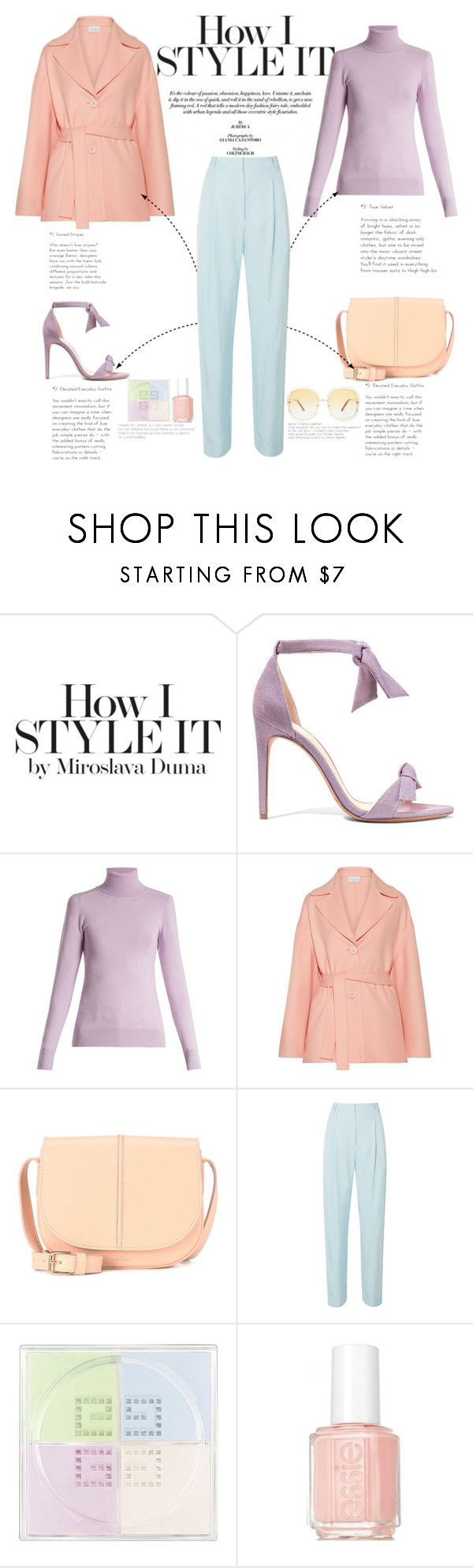 """Triad harmony"" by naki14 ❤ liked on Polyvore featuring Alexandre Birman, JoosTricot, Mansur Gavriel, A.P.C., TIBI, Givenchy, Essie, Chloé, pastel and springtrend"