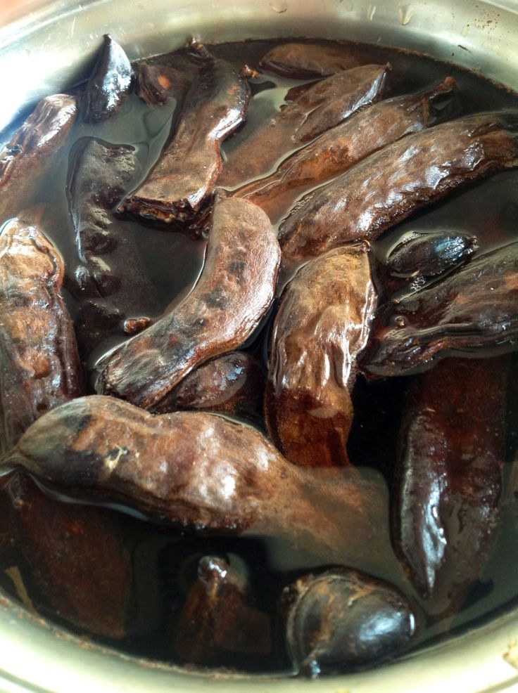 Today, no artificial additive Carob Syrup ! Soaking the carobs in ...