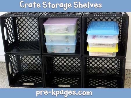 How to make milk crate storage shelves for your #preschool or #kindergarten classroom. Inexpensive, quick, and easy DIY tutorial. via www.pre-kpages.com