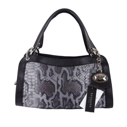 BARBARA MILANO Italian Made Black Python Embossed Leather Designer Handbag $299.0