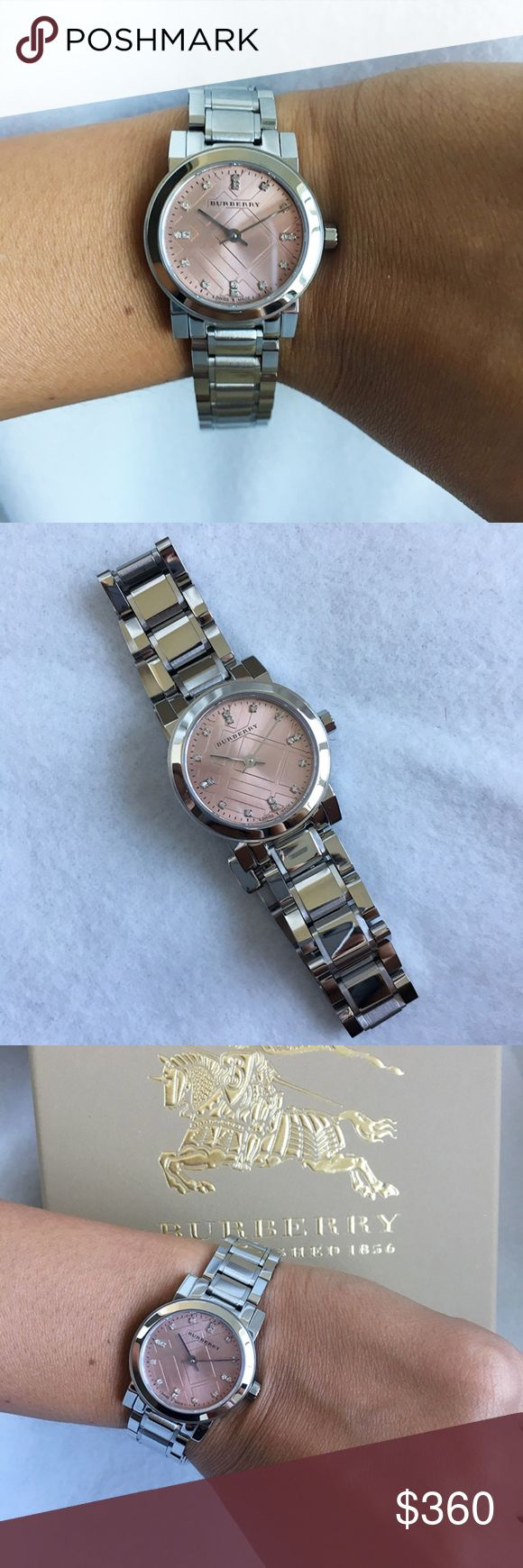 New & Authentic Burberry Women's Watch BU9223 100% Brand New and Authentic in the original Burberry Box. Fast Shipping, shipped same business day.  Brand Name: Burberry Model number: BU9223 Item Shape: Round Gender: Women's Case material: Stainless Steel Case color: Silver Case Size: 26 millimeters Case Thickness: 7 millimeters Band width: 20 millimeters Band material: Stainless Steel Band color: Silver Dial color: Pink (16 diamonds) Movement: Quartz Water resistant depth: 165 feet Burberry