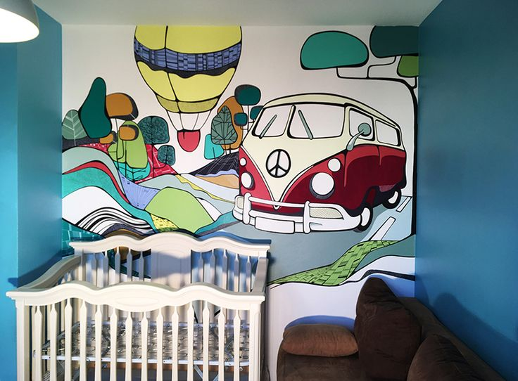 "On the Road | Wall Mural handpainted volkswagen bus  Pictura Murala ""On the Road"""