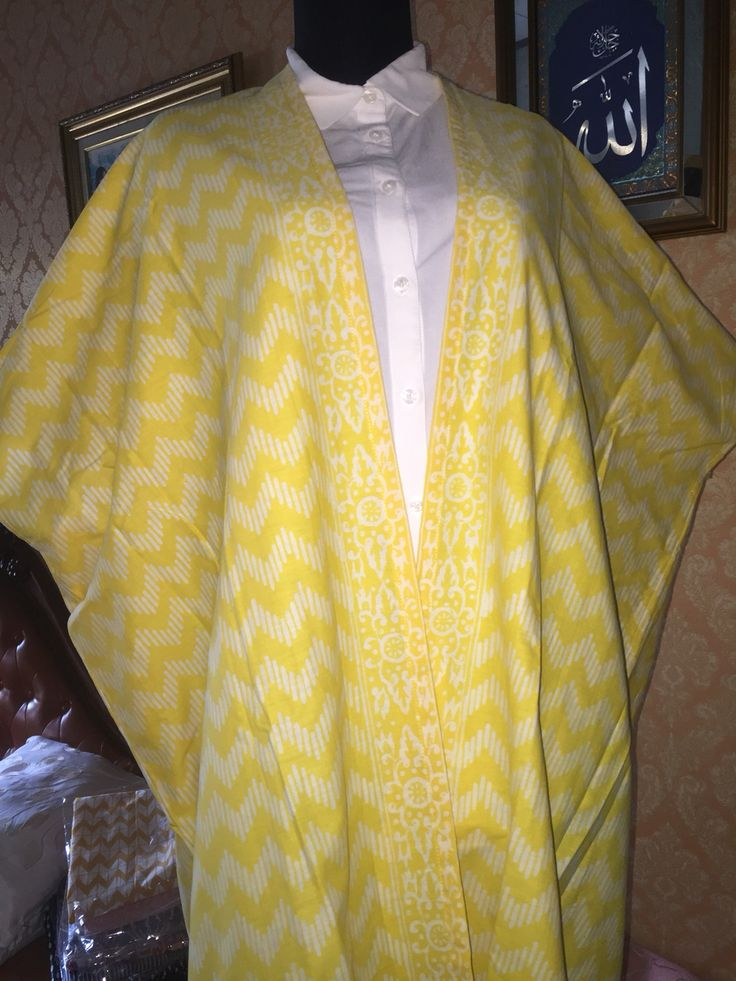lime yellow zigzag batik outer