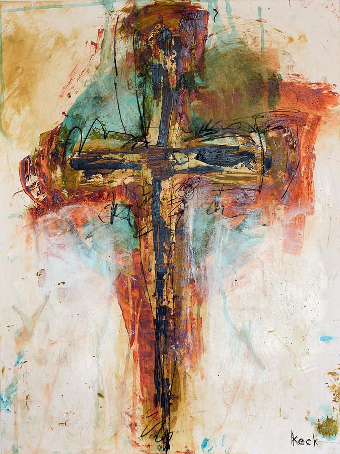 Cross Art Abstract Painting Religious Christian Crucifix Art by Michel Keck