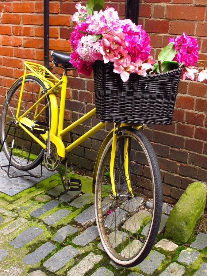 Yellow Bike With Flowers