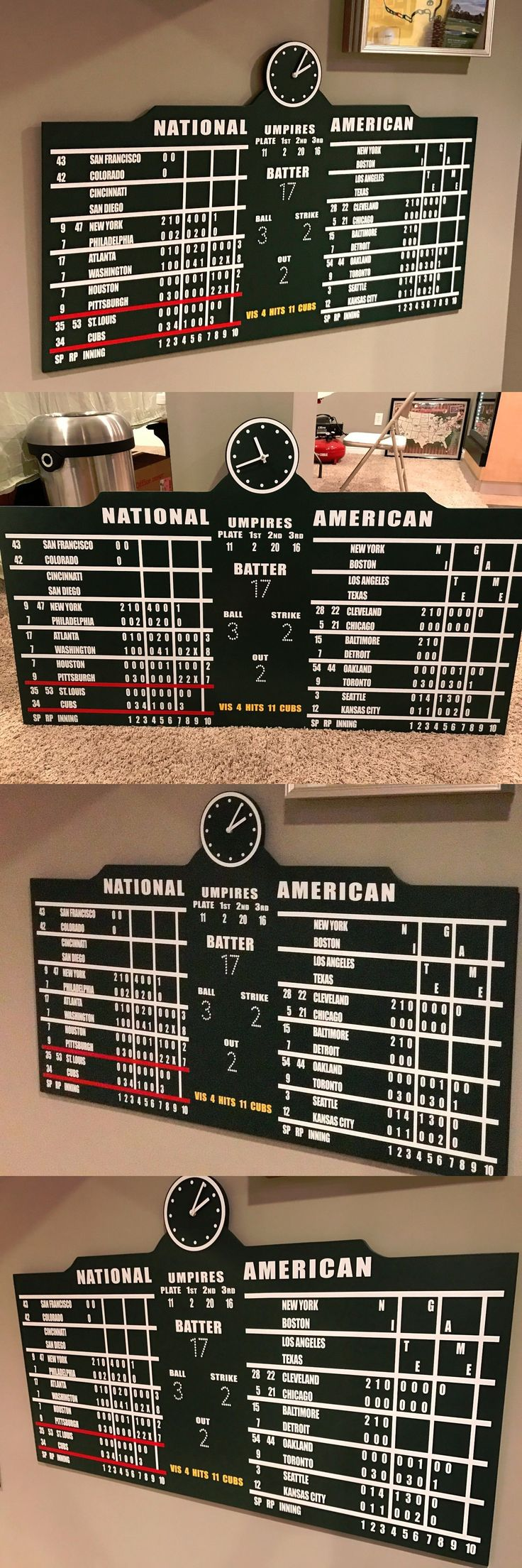 tickets: Wrigley Field Scoreboard Chicago Cubs Collectible Sign Memorabilia Mlb 4 Wide -> BUY IT NOW ONLY: $250 on eBay!