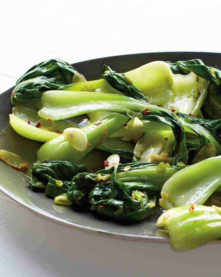 Baby Bok Choy with Chile and Garlic Recipe