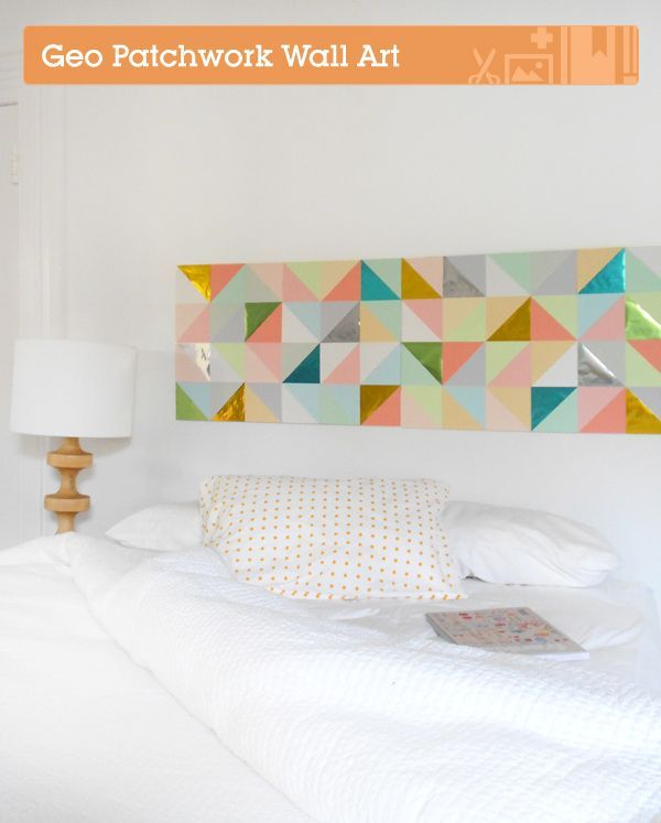 Use paper to create geometric patchwork art. | 28 Decorating Tricks To Brighten Up Your Rented Home