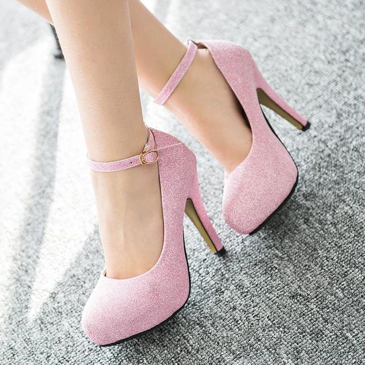 Vrouwen hoge hakken 4 kleuren goud zilver zwart roze sexy glitter ...