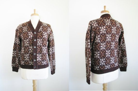 1950s Cardigan Sweater / 50s Brown Wool by TheOneILoveVintage