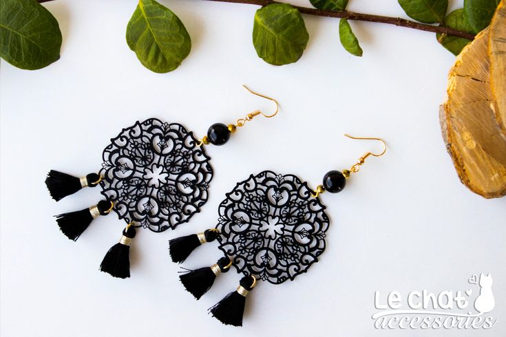 Excited to share the latest addition to my #etsy shop:  Mandala filigree statement earrings with tassels  Shop here :  http://etsy.me/2AIkgkl  #jewelry #earrings #black #floral #boho #floralfiligree #bohochicearrings #blackandgold #floralearrings