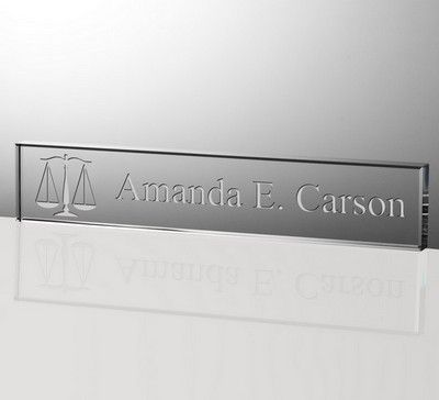 Personalized 12 Inch Crystal Nameplate for Lawyers