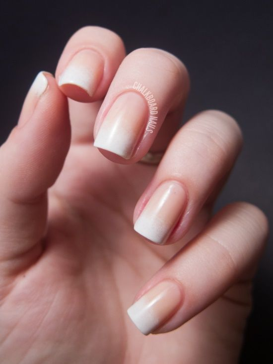 Ombre French Manicure (could be cool... have to try!) this might be really nice for wedding, no harsh line for pics