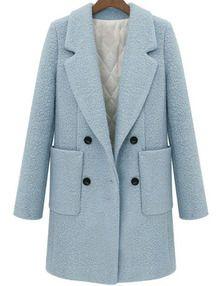 zweireiher Mantel mit Revers - azurblau
