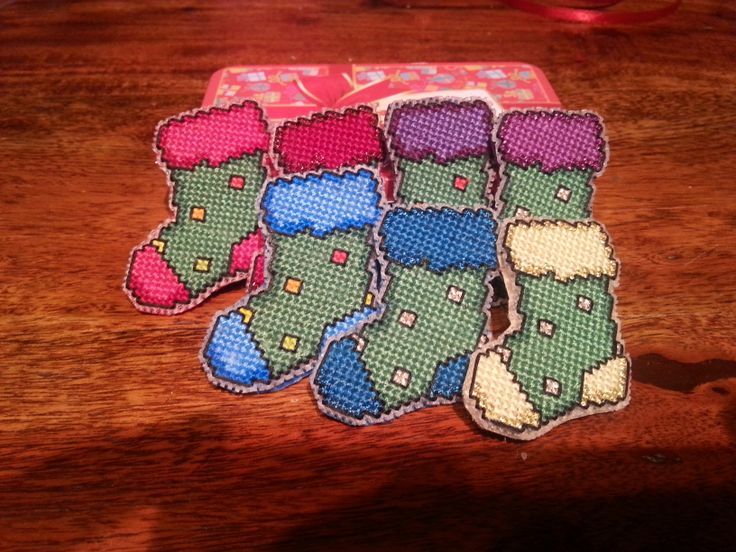 """Mum's """"one for everyday of the week"""" set of Christmas stockings pins. Made just in time for December"""