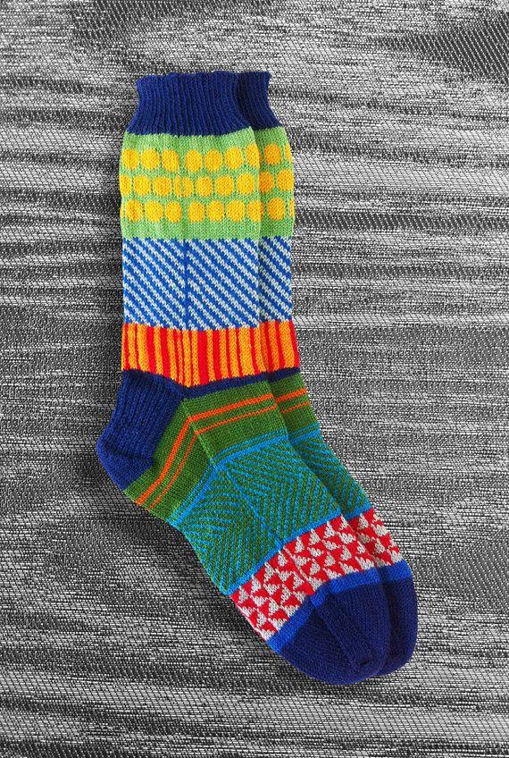 Hand Knit Unique Reversed Socks Men Socks Women Socks by LizSox