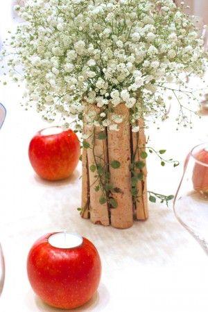 hanadouraku/花どうらく/はなどうらく/りんご/りんごキャンドル/wedding/ゲストテーブル/かすみ草/ナチュラル/candlecoordinate/apple/白樺/Xmas/クリスマス