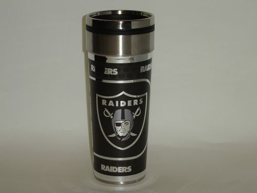 NFL Oakland Raiders 16oz Travel Mug Tumbler with Metallic Wrap Team Logo Mug