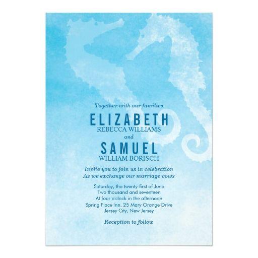 Seahorse Couple Modern Ocean Wedding Invitation // by pinkpinetree
