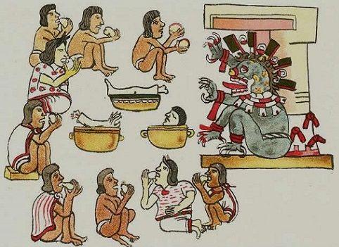 Lámina del Códice Magliabechiano que muestra un grupo de mexicas que comen partes del cuerpo de un ser humano, en utensilios domésticos, bajo la mirada del dios de la muerte. Después de su sacrificio el cuerpo quedaba a disposición del guerrero que lo capturo y este hacía con él un gran banquete.