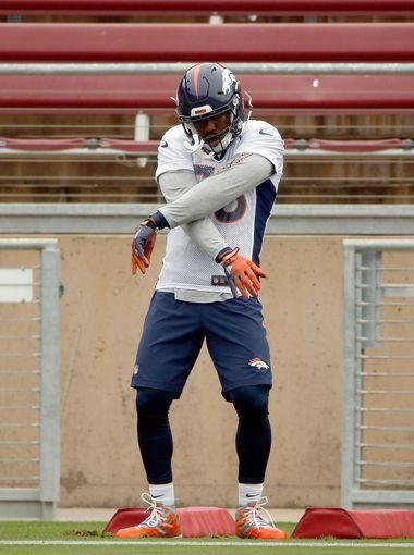 Von Miller of the Denver Broncos does a dance move