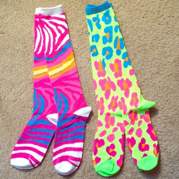 Neon animal print socks Very vibrant and fun knee high neon socks! I bought these in a set for a neon party and ended up only using one pair! So these have never been worn before! :) Other
