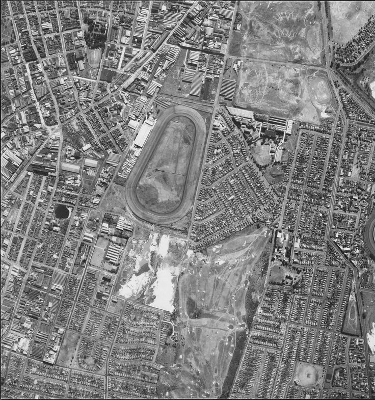 Historic aerial photo, taken in 1953, of the Sydney suburbs of Waterloo at top left, Moore Park at top right, Zetland centre, Beaconsfield and Rosebery at bottom left and Kensington at bottom right. The Victoria Park racecourse is in the centre, and the Kensington Golf Course at bottom.  Google maps view: maps.google.com.au/maps?q=google+maps+zetland&ie=UTF-...  [Image: 6740 x 7190 px].