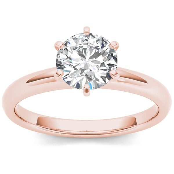 De Couer 14k Rose Gold 1ct TDW Diamond Engagement Ring (9.460 BRL) ❤ liked on Polyvore featuring jewelry, rings, accessories, anel, h, jewelry & watches, 14 karat gold diamond ring, pink gold engagement rings, 14k ring and 14k engagement ring