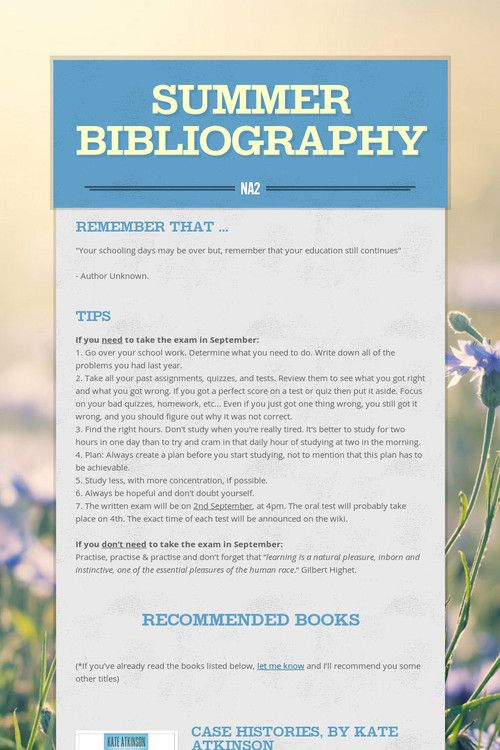 SUMMER BIBLIOGRAPHY