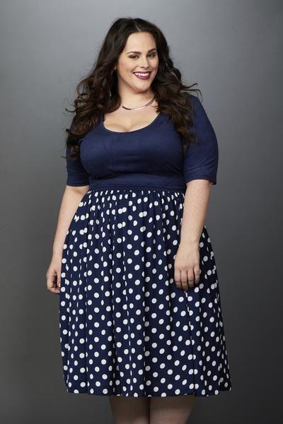 Plus Size Clothing for Women - Makena Polka Dot Midi Skirt Navy/Ivory - Society+ - Society Plus - Buy Online Now! - 1