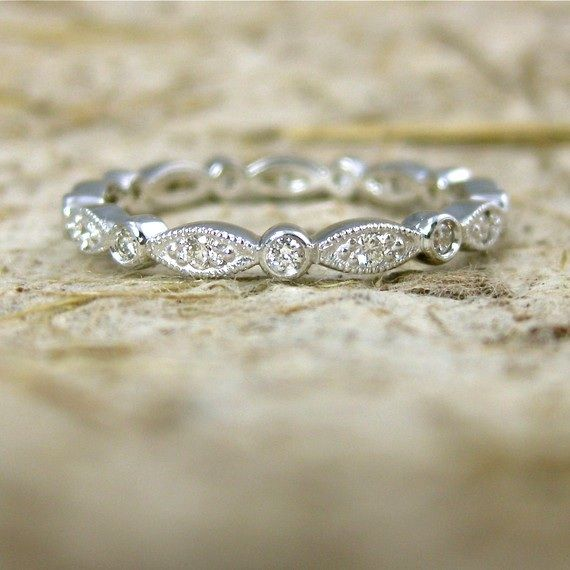 Handmade VintageStyle Diamond Wedding Ring By AdziasJewelryAtelier In Platinum Or Yellow Gold Please