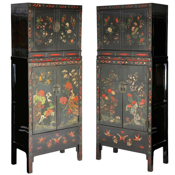 Antique 18thC Pair Chinese Lacquer Painted 2 Part Compound Cabinets,  Chinoiserie