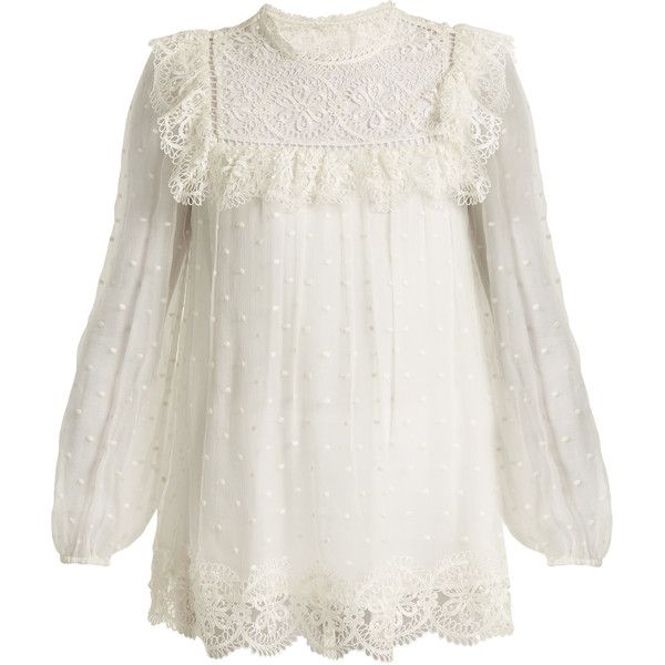 Zimmermann Meridian circle-lace silk top ($385) ❤ liked on Polyvore featuring tops, shirts, blouses, white, silk shirt, white polka dot shirt, lace trim shirt, lace top and white lace top