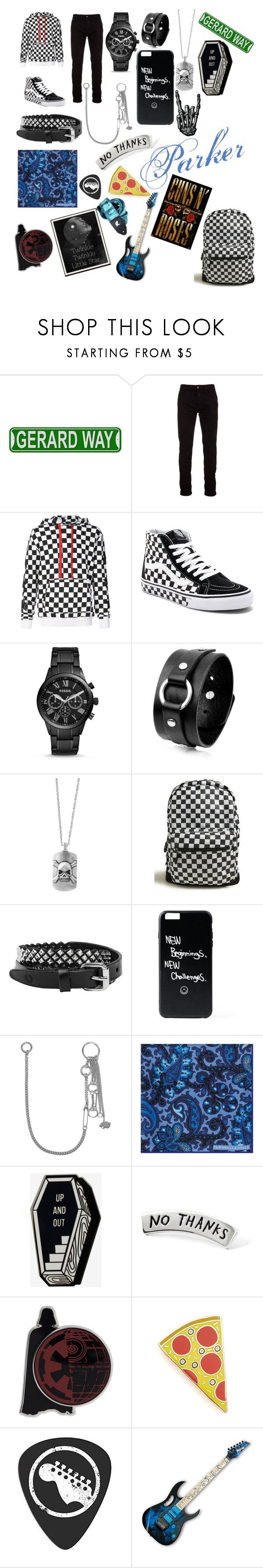 """Parker"" by lupusuncia ❤ liked on Polyvore featuring Marcelo Burlon, AMIRI, Vans, FOSSIL, Effy Jewelry, 21 Men, Rust Mood, Valentino, Turnbull & Asser and Georgia Perry"