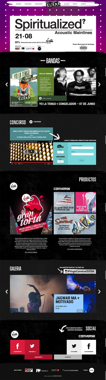 Este es el diseño de nuestra página con toda la info sobre el ciclo #VirginConverseSUENA #2014 ♥︎