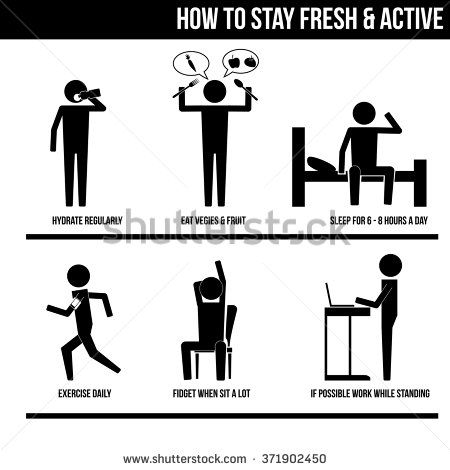 How to stay fresh & active info graphic sign symbol illustration vector icon